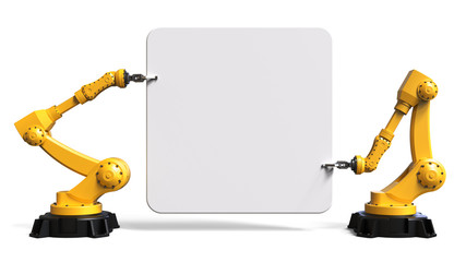 Industrie Roboter mit Schild, isoliert, weißer Hintergrund