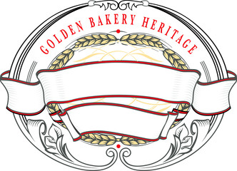 Bakery banner, decorative element with gold ripe wheat ears on rich decorated ribbon.