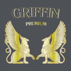 Two golden griffins on black background.