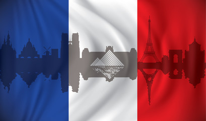 Flag of France with Paris skyline