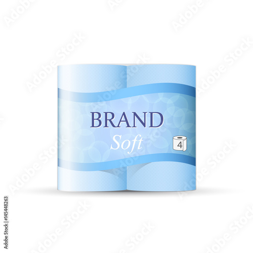 blue toilet paper package design vector template of paper towel