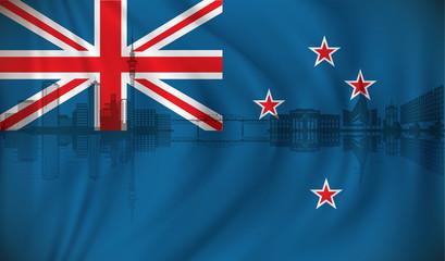Flag of New Zealand with Auckland skyline