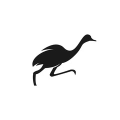 Running ostrich icon. Vector logo illustration