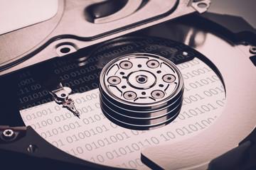 hard disk memory close-up
