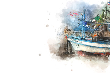 Long boat fishing in sea, Fishing boat on watercolor paining background. Thailand