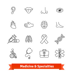 Medicine and medical specialties. Icons set