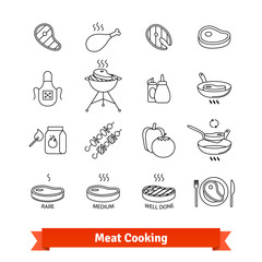 Meat cooking thin line art icons set