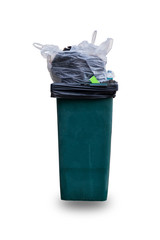 Bin and garbage isolated on white background., This has clipping path