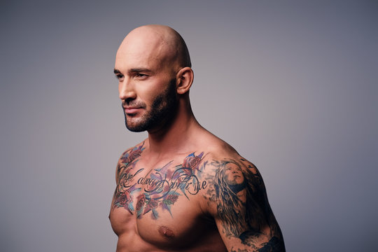 Athletic shaved head male with tattoos on his torso posing over grey vignette background.