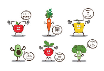 Set of cute fruits and vegetables doing sport with motivation quotes.