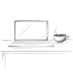 Hand drawn laptop with coffee sketch