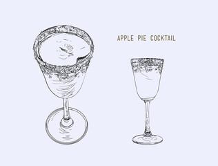 Apple pie cocktail Hand drawn sketch line art , illustraion vector.
