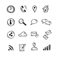 Hand drawn web icons set. Sketch, vector illustration.