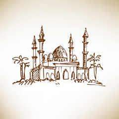 Hand drawn mosque. Sketch, vector illustration.