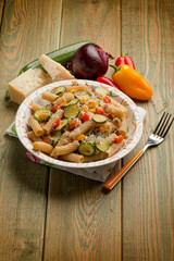 pasta with capsicum zucchinis and parmesan cheese