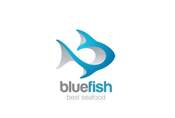 Fish Logo 3D Seafood restaurant menu store shop Tuna icon