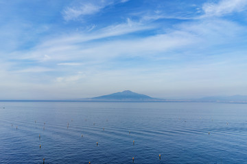 View of Vesuvio volcano with beautiful blue sky in the evening, southern Italy