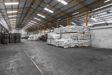 interior of a industrial warehouse with drag chemicals