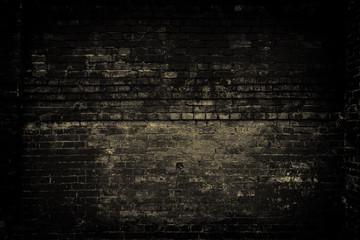 Old brick wall, dark light. Grunge background