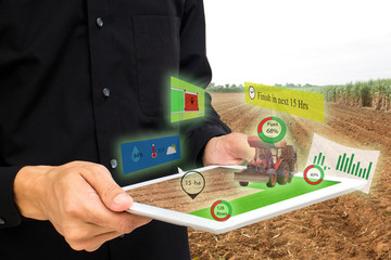 Wall Mural - iot,internet of things, agriculture concepts,farmer use 3d pop up of augmented reality to manage,analysis and keep data in the farm or field