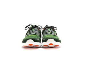 Running shoes green orange