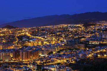 Fotobehang Crimson Panorama of Santa Cruz de Tenerife