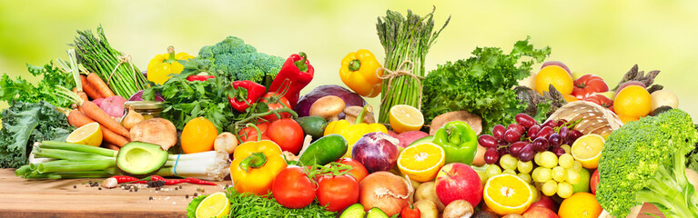 Fototapete - Vegetables and fruits.
