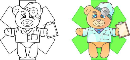 Cartoon doctor teddy bear emblem