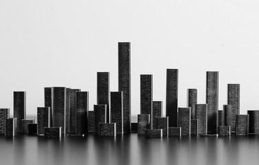 skilene with  staple , paesaggio urbano fato con punti mettalici