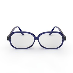 Glasses with blue plastic frame on white isolated background