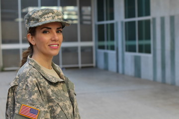 bb9ee3664200 Military female smiling - Stock image with copy space
