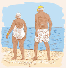 elderly spouses on the beach