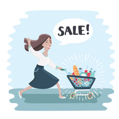 Comic vector illustration. Cartoon funny man run and push shopping trolley filled with full of shopping. He waving his hand. Bubble speech with word Sale!