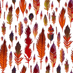 Multicolored feathers seamless pattern.