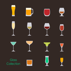 Vector illustration of color wine glasses set