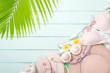 beach accessories on the plank, soft color