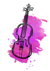 Pen and ink drawing of vintage violin with watercolor stain