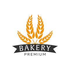 Bakery shop emblem, labels, logo and design elements. Fresh bread and wheat. Vector illustration.
