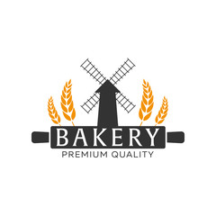 Bakery shop emblem, labels, logo and design elements. Fresh bread. Vector illustration.