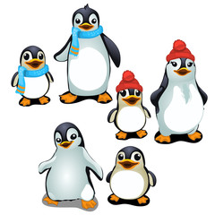 Cheerful family of penguins in a cap and scarf
