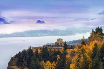 Rolling Fog at Columbia River Gorge in Oregon Fall season