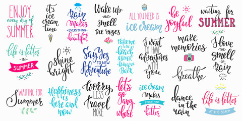 Hello summer lettering typography big set