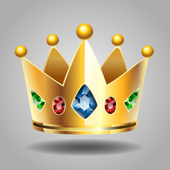 Golden Crown for a Royal King Cartoon Vector Illustration