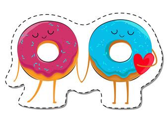 Love Is... Donuts In Love Sticker. Cute Cartoon Food emoticon Vector illustration