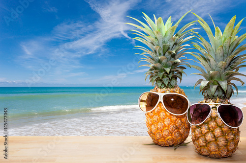 """Retro Beach Wallpaper 500 489: """"pineapple With Sunglasses On Wood,concept Summer"""