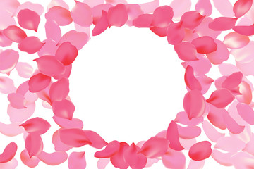 Bright pink rose petal frame round circle. Background flower template vector illustration. Realistic 3d detailed blossom