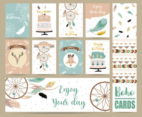 cute cards for banners,Flyers,Placards with feather,fox,cake,wild and arrow in boho style