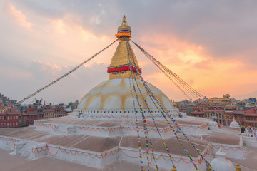 Evening view of Bodhnath stupa, Kathmandu, Nepal, Selective focus