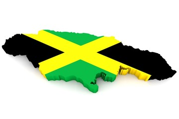 Country shape of Jamaica - 3D render of country borders filled with colors of Jamaica flag isolated on white background