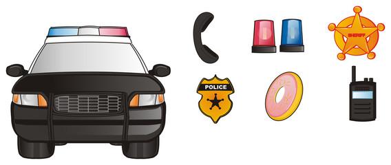 Police, car, cartoon, police car, american, law, transport, patrol, siren, black, nine one one, street, security, donut,  badge, Radio, Handset, Siren, loud,